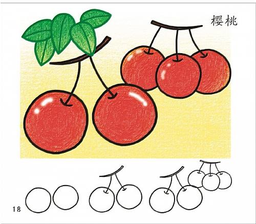 幼儿学简笔画:樱桃简笔画