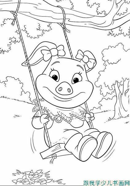 幼儿学简笔画:荡秋千的小猪简笔画